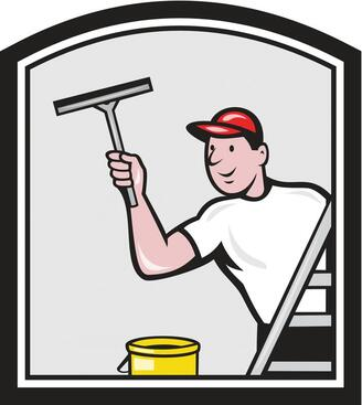 Image of man washing a window with a squeege